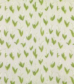 Lily Of The Valley - Light Grey - Light green leaves printed in pairs with very subtle cream flowers on an off-white linen fabric background