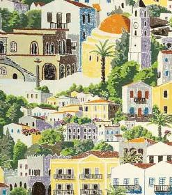Dodecanese - Dark Green - A Mediterranean style town with cream, yellow & white buildings and green trees printed on hard wearing fabric in