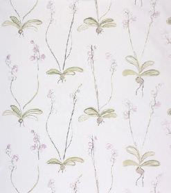 Louise - Pink - White linen fabric with a pattern ofwhite-grey flowers and stems, and very light green coloured leaves