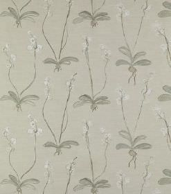 Louise - Beige - Subtle white flowers printed with long, wiggly stems and grey leaves on lighter grey coloured linen fabric