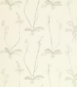 Louise - Light Grey - Subtly patterned linen fabric in cream and light grey, featuring a repeated pattern of flowers, wiggly stems and leave