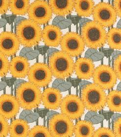 Norma - Dark Yellow - Bright yellow sunflowers printed as a repeated pattern with dusky green leaves on linen fabric in white