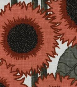 Norma - Red - Sunflower print linen fabric with a dusky red and grey design on a white background
