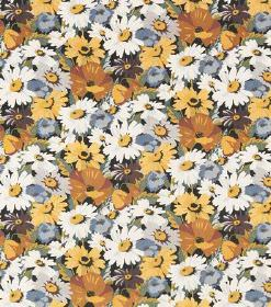 Poppy - Dark Orange - Linen fabric completely covered in white, yellow, burnt orange, blue-grey and dark purple-grey coloured flowers
