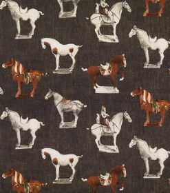 Tang - Brown - Very dark grey linen fabric printed with white, grey and chestnut brown coloured horses