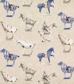 Tang - Beige - Blue, white and grey horses, some pictured with riders, on a cream coloured linen fabric background