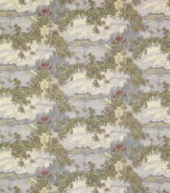 Drottningholm - Dark Green - Silk fabric with a watercolour style background in blues and whites, beneath garlands of dusky green leaves