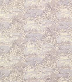 Drottningholm - Dark Liliac - Subtly patterned silk fabric with a watercolour style pattern, featuring very pale white, blue, purple and gre