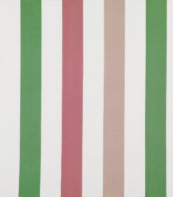 Elias - Pink - Hard wearing fabric in white, with a striped design in bright green and two different shades of dusky pink
