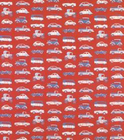 Julia - Red - Car print hard wearing fabric with small blue and white vehicles on a bright red background