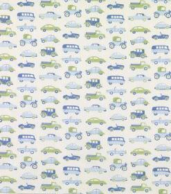 Julia - Dark Green - Rows of cars and buses from different eras printed in green and two shades of blue on off-white hard wearing fabric