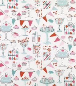 Laurent - Light Turquoise - Hard wearing fabric in white, with cakes, presents, sweets, drinks and bunting in light shades of blue, pink and