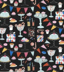 Laurent - Black - Multicoloured cakes, sweets, presents, drinks and bunting on a background of black hard wearing fabric