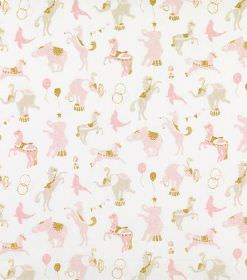 Linn - Pink - White hard wearing fabric printed with a repeated design of pale pink and green circus animals like horses and elephants