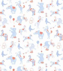 Linn - Light Blue - Circus animal print hard wearing fabric, with a light blue and red design on a white background