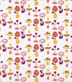 Pia - Pink - Stylised flower print hard wearing fabric in white with the design in mustard yellow, red-orange, pinks, purples & green