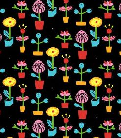 Pia - Black - Stylised flowers in bright shades of yellow, blue, red, pink & green on a hard wearing fabric background in solid black