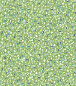 Valter - Dark Green - Miniscule dots in shades of blue, green, white and yellow, printed randomly all over apple green hard wearing fabric