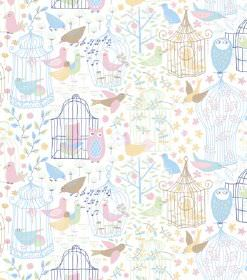 Engla - Pink - White hard wearing fabric printed with pastel coloured books, birdcages, birds, owls, plants, fruit and hearts