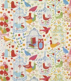 Engla - Light Green - A multicoloured pattern of birds, owls, books, plants, fruit, hearts and birdcages printed on hard wearing fabric