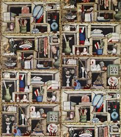 Sara - Brown - Black linen fabric covered in shelves and stacks of multicoloured ornaments, plates, vases, books, pots and more