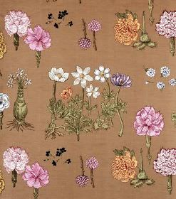 Greta - Nougat Brunt - Brown linen fabric with rows of pink, purple, white and yellow-orange flowers in different styles, with green leaves