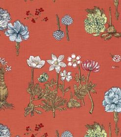 Greta - Red - Linen fabric in terracotta with different types of blue, yellow, white and red flowers and green leaves arranged in rows