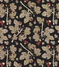 Ofelia - Black - Black linen fabric printed with beige ivy style leaves, cream stems and a few small, unusual, dark red coloured flowers