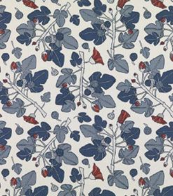 Ofelia - Dark Blue - Ivy style leaves in two shades of blue printed with small, unusual red flowers over a white linen fabric background