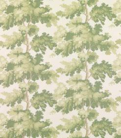 Raphaela - Light Green - Rows of voluminous leaves and foliage printed in shades of green in vertical rows with brown tree trunks on white l