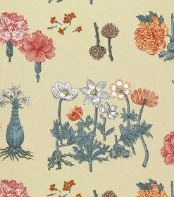 Greta - Beige - Rows of different types of flowers in grey, white, dusky red and orange with blue stems and leaves, on yellow-grey linen