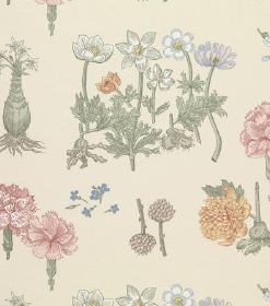 Greta - Pink - Pastel coloured floral print linen fabric, featuring rows of flowers and leaves, which are all different species
