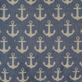 Anchors - Denim - Navy blue natural linen union fabric patterned with rows of simple grey anchors