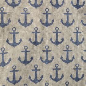 Anchors - Natural Blue - Nautical themed anchor patterned natural linen union fabric featuring a navy design on a grey background