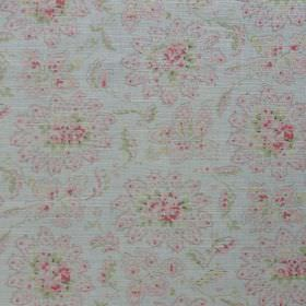 Antoinette - Pale Rhubarb - Floral patterned fabric featuring a very subtle design made invery pale shades of grey, green and pink