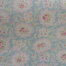 Antoinette - Duck-and-Red - Light blue fabric patterned with subtle florals in white and light shades of pink and green