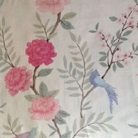 Chinoiserie - Pink Natural - Off-white coloured linen fabric patterned with large, bright pink flowers, green-grey leaves and bright blue bi