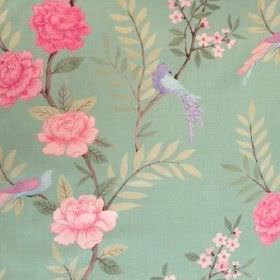 Chinoiserie - Peapod - Flowers and birds printed in shades of pink, purple and blue on minty green linen fabric with olive green leaves