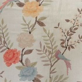 Chinoiserie - Coral Natural - Bird, leaf and floral print linen fabric in light grey, cream, yellow, red, blue, light green and brown colour