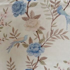 Chinoiserie - Blue Natural - Flowers and birds in shades of blue and cream printed with brown and green leaves on cream coloured linen fabri