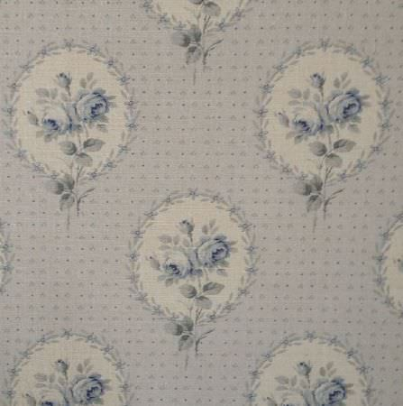 Delfine - Faded Blue - Fabric made from oyster linen with dots and vintage style florals framed in circles in shades of grey, blue and cream