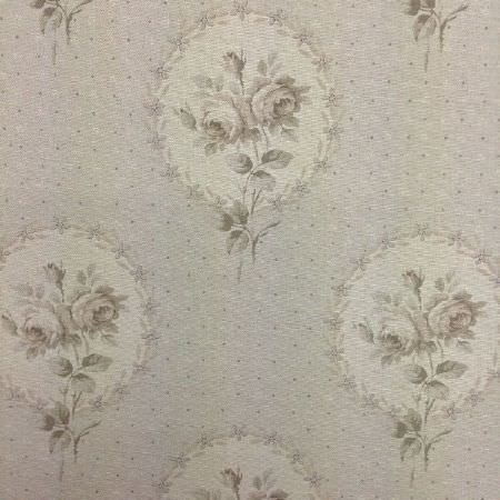 Delfine - French Grey - Grey and cream shades creating vintage style florals,circular garlands and dots on fabric made from oyster linen