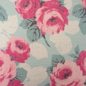 Faded Roses - Duck Egg - Oyster linen fabric with a fairly large dark pink, off-white and duck egg blue coloured floral pattern
