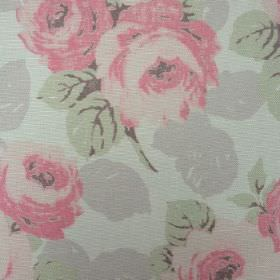 Faded Roses - Faded Pink - Floral patterned oyster linen fabric in pastel shades of green, pink and grey