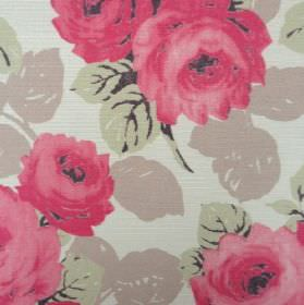 Faded Roses - Cherry - Red flowers with light green and light brown leaves on a background made from very pale green coloured oyster linen
