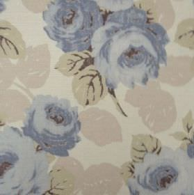 Faded Roses - Indigo - Flowers and leaves in pale shades of blue, green and grey on a pale green-grey oyster linen fabric background