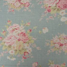 Florence - Duck Egg - Light blue oyster linen fabric patterned with bunches of pink flowers with green leaves