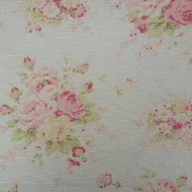 Florence - Rhubarb - Very pale shades of pink, green and blue making up a floral pattern on this oyster linen fabric