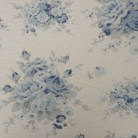 Florence - Indigo - Oyster linen fabric in a very pale shade of grey, with a pattern of bunches of flowers printed in various shades of blue