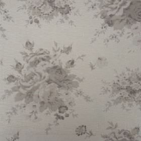 Florence - French Grey - Several different shades of grey patterning oyster linen fabric with a pattern of bunches of flowers and leaves